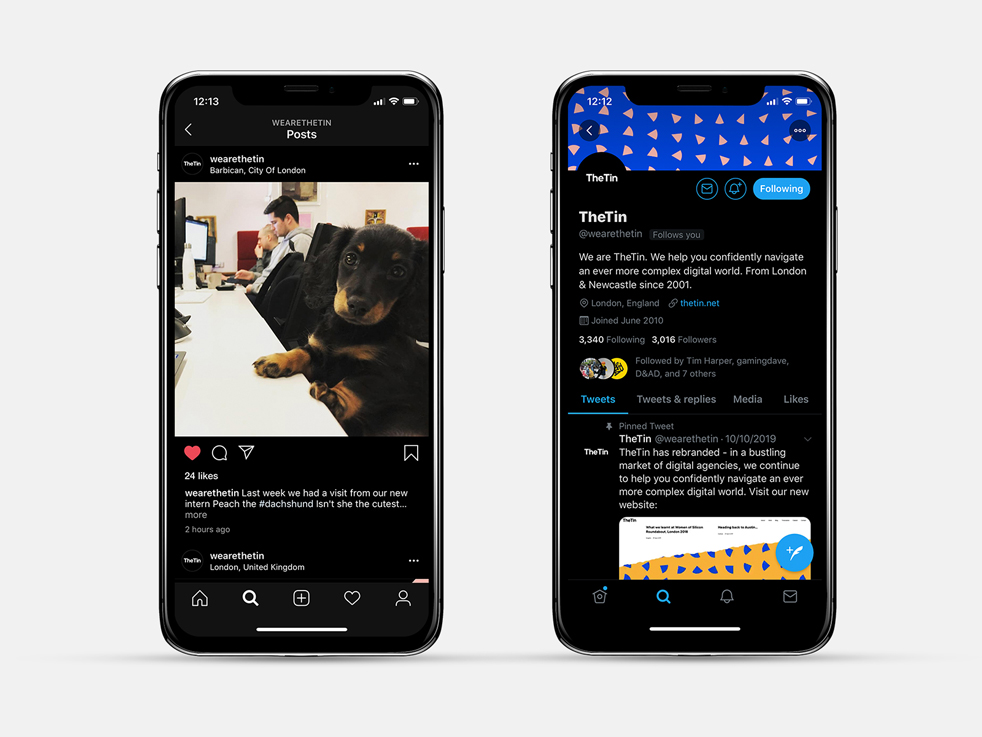 Dark mode interfaces on phones