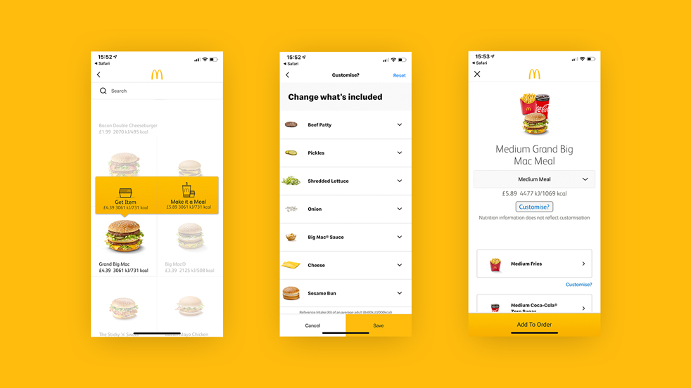 some screenshots of McDonald's App
